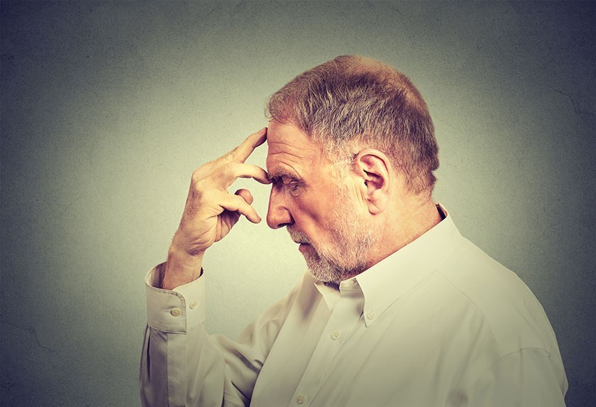 Elderly man showing signs of memory loss